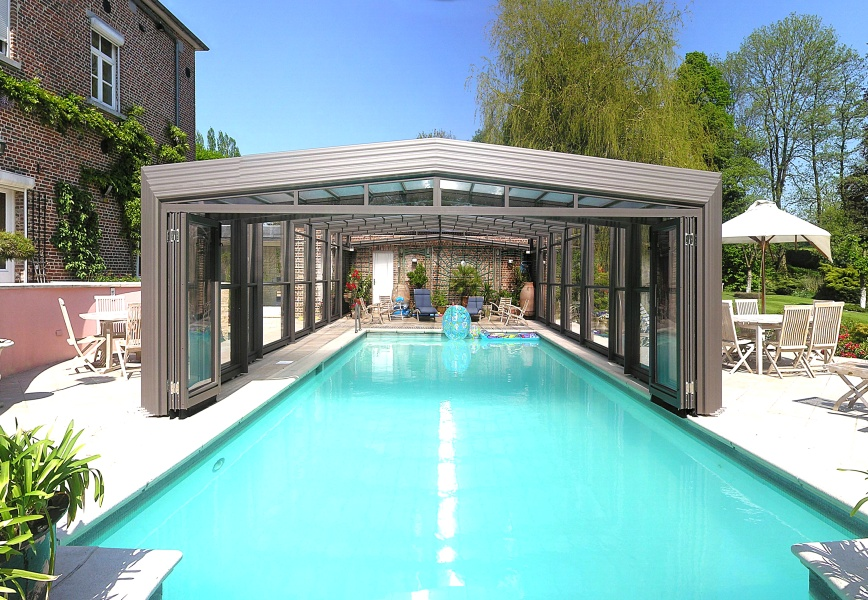 Poolabri abri piscine haut telescopique 3 angles for Prix piscine creuse