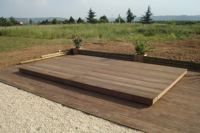 Poolabri abri piscine terrasse plat bois for Piscine demontable bois