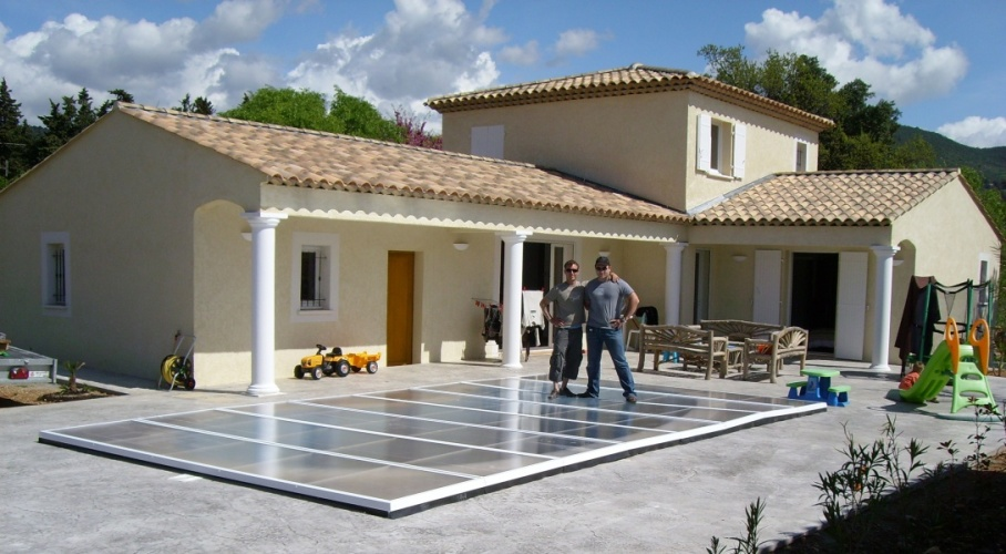 Poolabri abri piscine plat repliable for Prix abri piscine plat