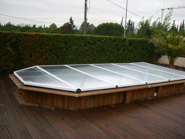 Poolabri abri piscine plat repliable for Piscine hexagonale en bois